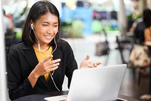 female student in a video conference call